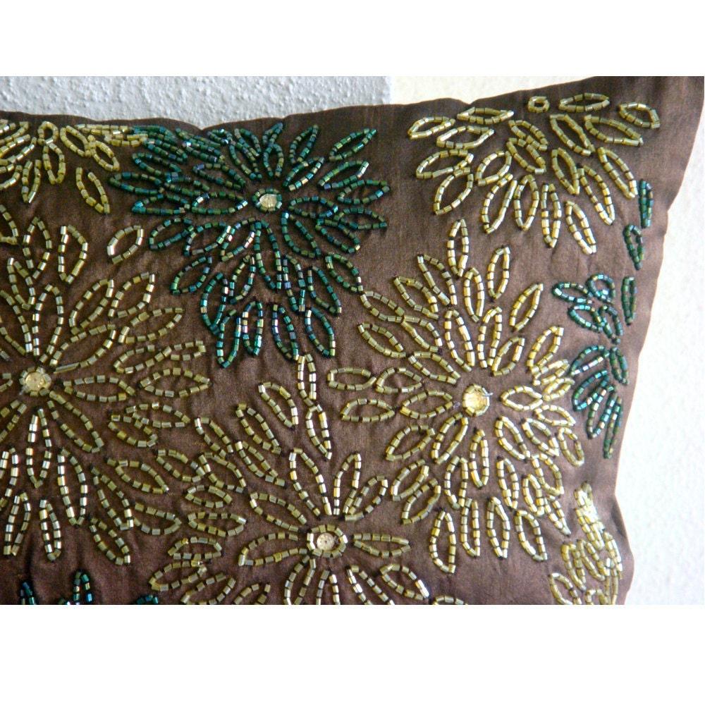 Luxury Brown Pillow Covers 16x16 Silk Pillows