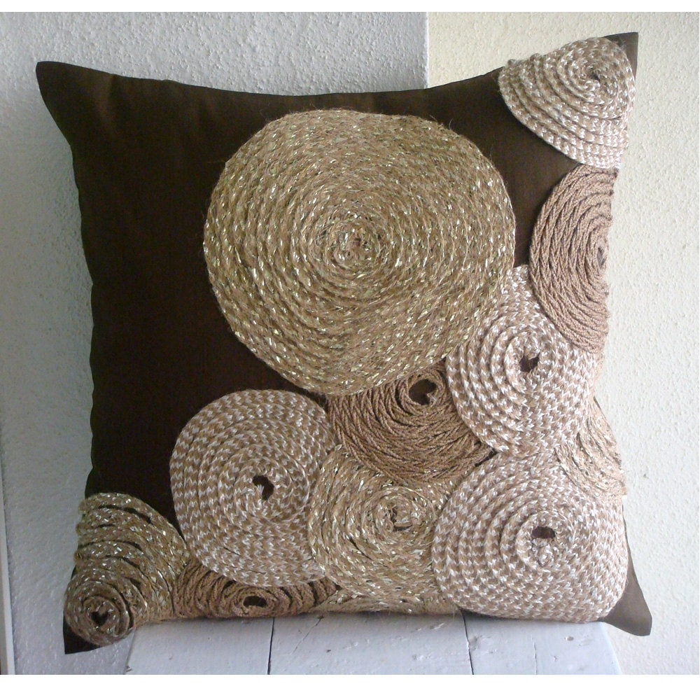 Handmade Brown Throw Pillows Cover For Couch
