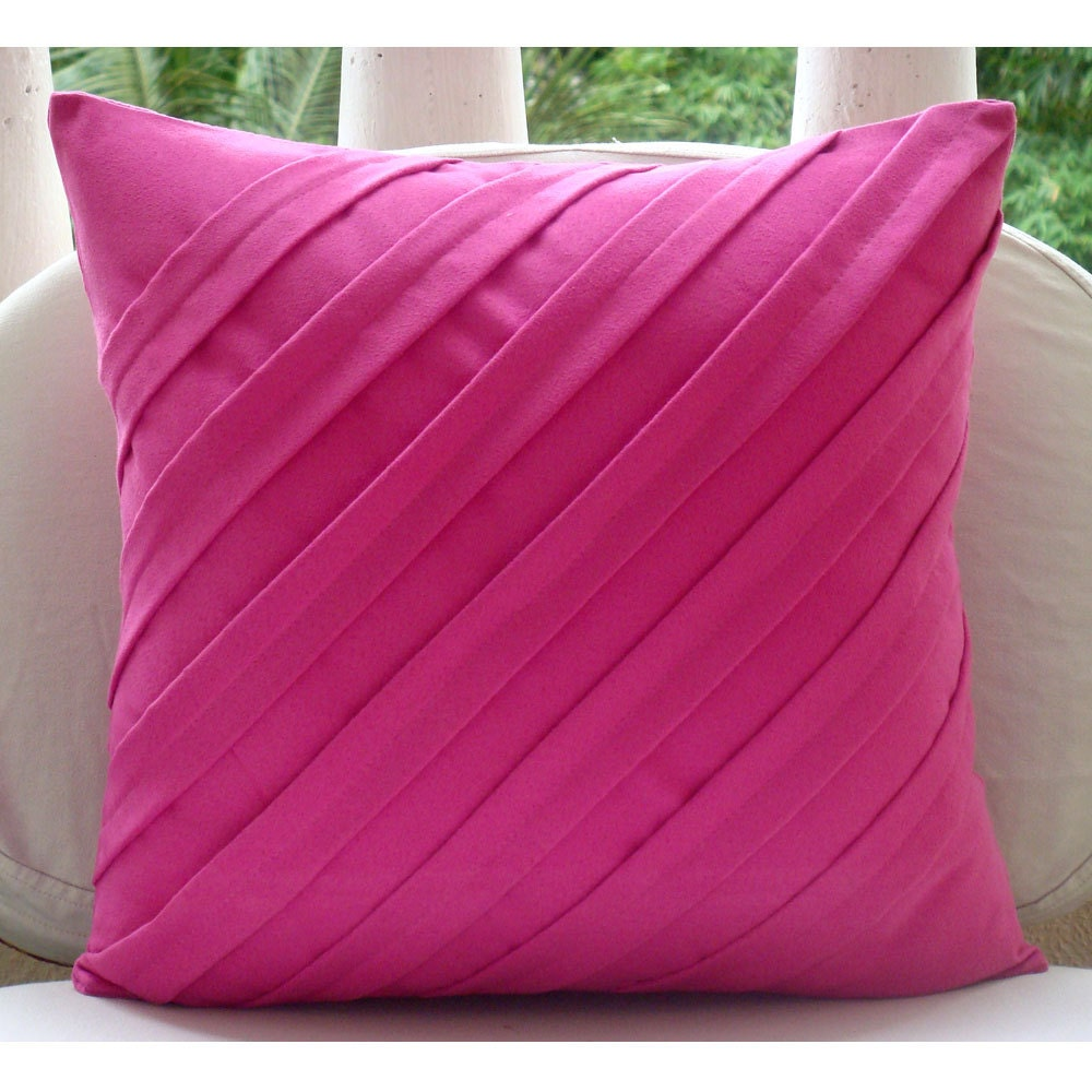 Fuschia Modern Pillows : Fuchsia Pink Pillows Cover Square Textured Pintucks Solid