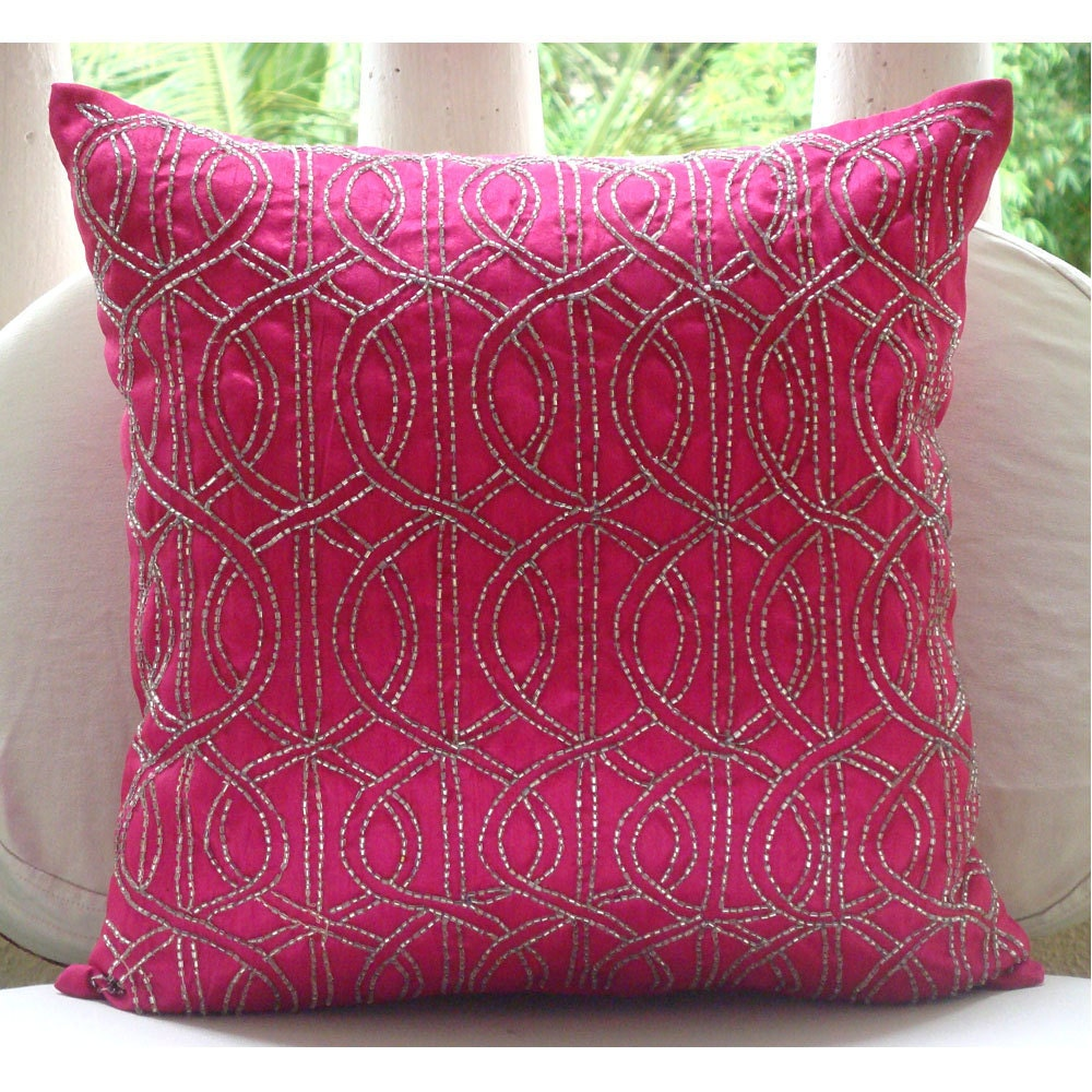 handmade fuchsia pink decorative pillows cover
