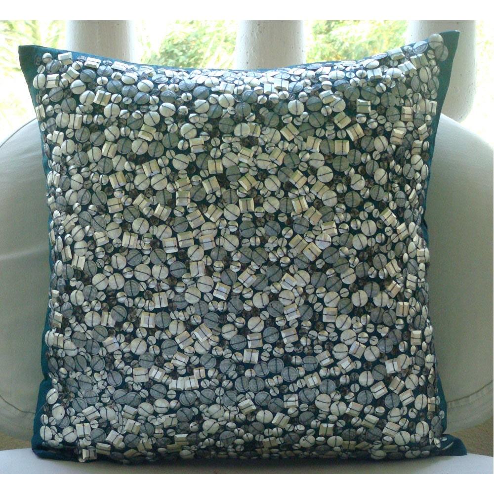 handmade 3d metallic sequins abstract glitter throw pillows. Black Bedroom Furniture Sets. Home Design Ideas