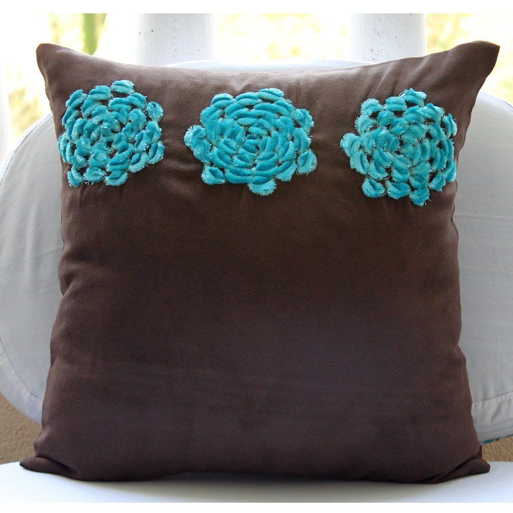 Brown Throw Pillows Cover For Couch Square Turquoise