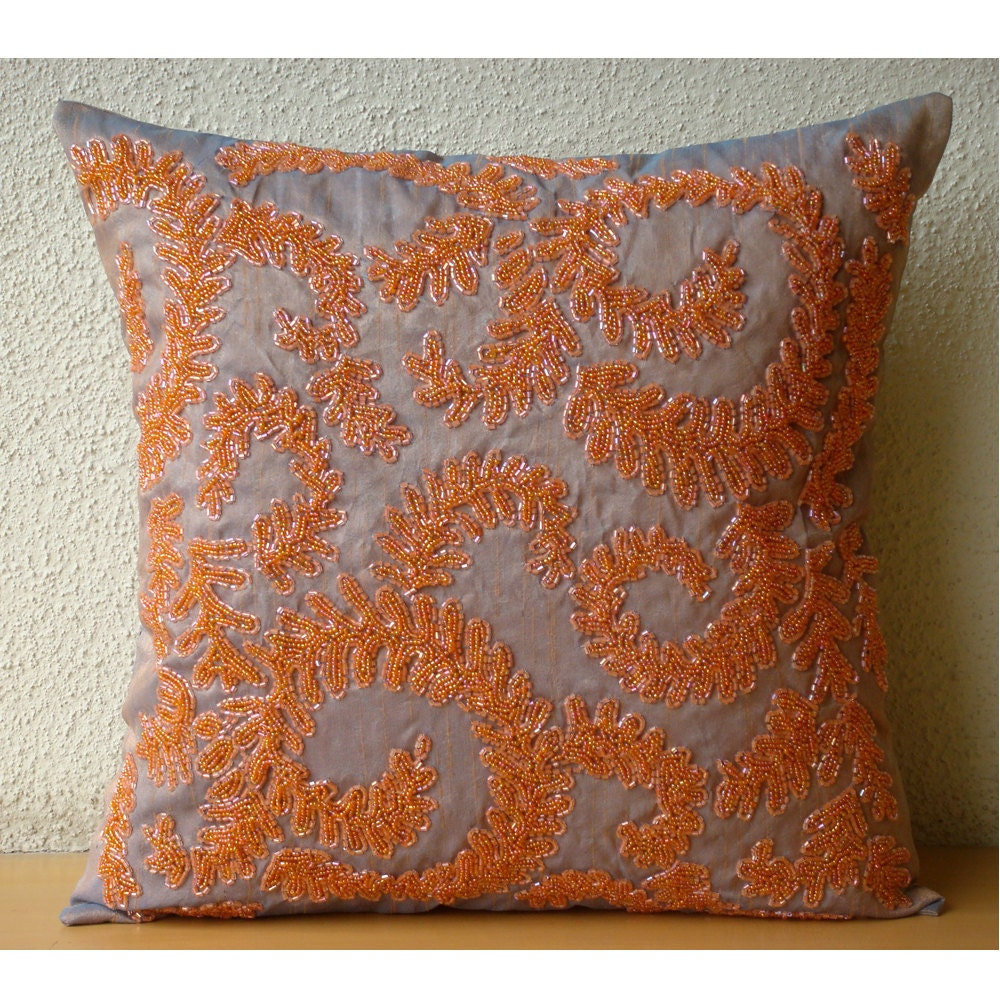 Designer Orange Pillow Covers 16x16 Silk Pillows