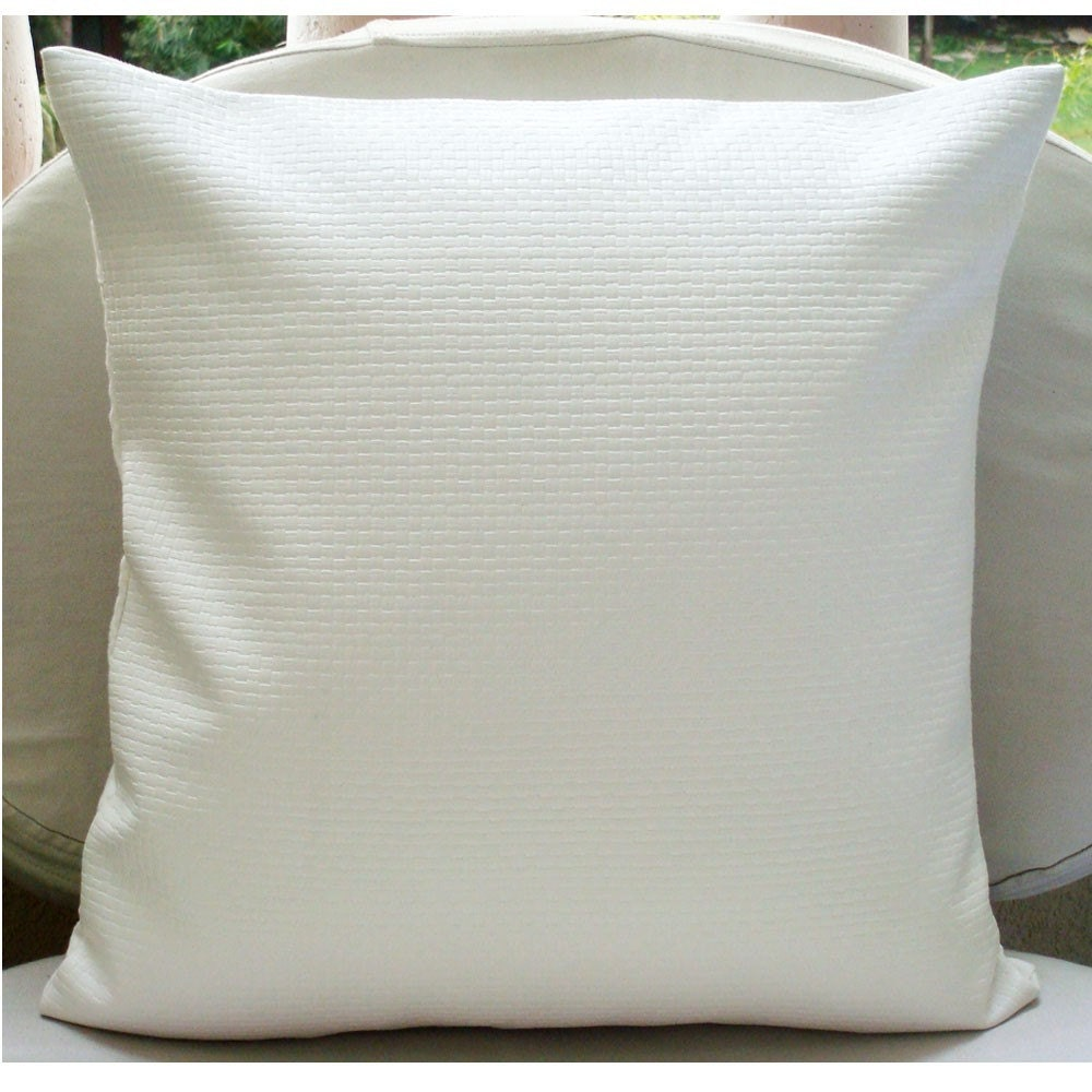 Daisy White 18 Inches Square Pillow Cover in White Textured