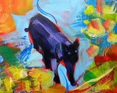 Wondering the Garden 2 original abstract acrylic cat painting
