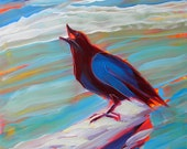 Crow at the Beach 10 original abstract bird portrait oil painting