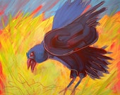 Crow in the Grass 13 original abstract wildlife bird oil painting