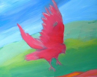 Crow at the Beach 14 original abstract wildlife oil painting