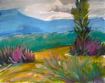 Valley Morning 8 original landscape watercolor painting