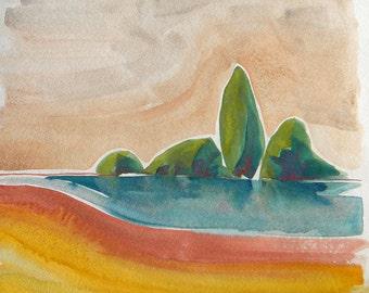 Willamette River 19 original iridescent watercolor on archival paper