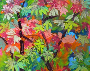 Fall Maple Leaves original autumn landscape oil painting