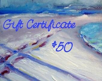 Gift Certificate 50 original painting