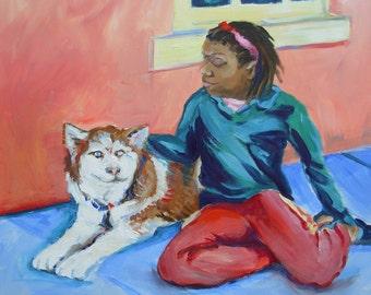 Maya and a Husky original animal portrait oil painting