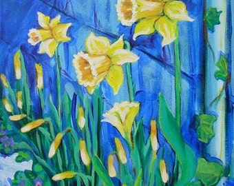 Daffodils and Violets original acrylic flower portrait painting