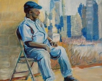 Man Resting in NYC original oil portrait painting