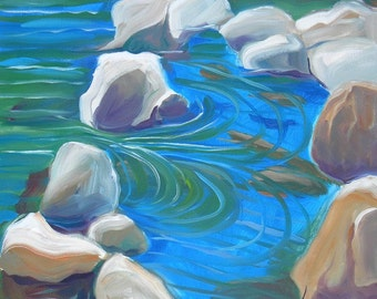 Quartzville Pool original en plein air Oregon landscape painting