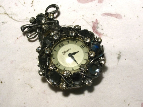 Florenza Pocket Watch Brooch with Rhinestones for Parts