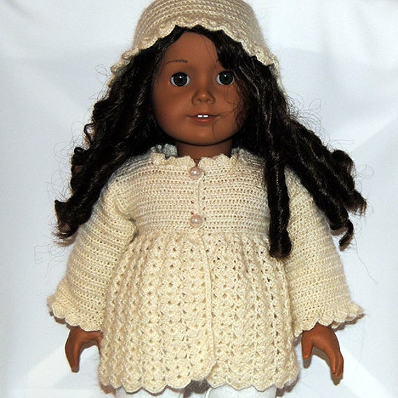 Crocheted Doll Clothes -Cream Jacket and Hat for your American Girl Doll or similar doll.