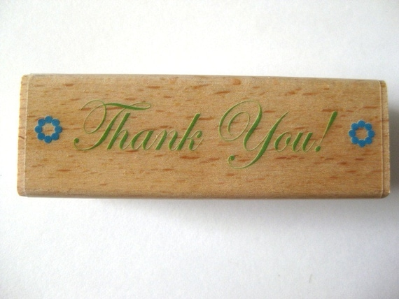 Thank You Rubber Stamp Mounted New