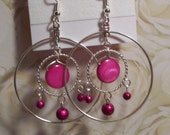 Large Fuchsia Hoop Dangle