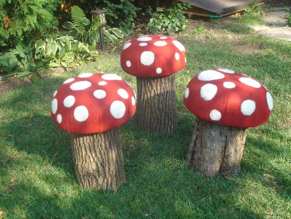 Items similar to recycled log toadstool on etsy - Garden log decorations ...