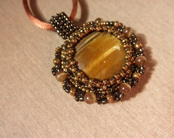 SALE! Tiger eye bead embroidered pendant by Galeandra