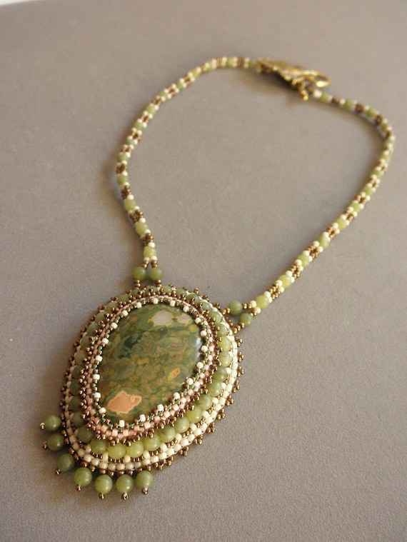 Unakite embroidered necklace by Galeandra