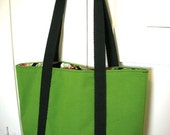 Lively Green Tote - Organic Moss Green Canvas with Alexander Henry Calaveras print lining.