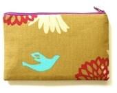 Dreamy Dove Zip Pouch - Kokka fabrics Echino blue dove print