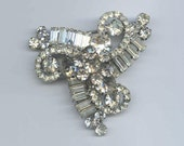 Reserved for TheHatBox     Ornate Clear Rhinestone Brooch