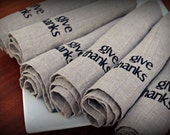 Gratitude Linen Napkins in NATURAL Set of 6 Two Words give thanks Thanksgiving