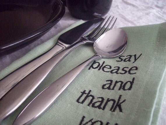 Manners Napkins Set of 6 in Linen  Willow Color Free Shipping