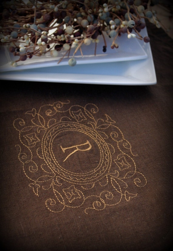 Linen Table Runner in CHOCOLATE Brown Personalized With Your Initial Perfect Wedding Gift