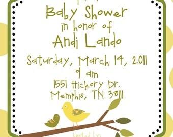 Baby Bird Shower  Invitations - Digital File- Gender Neutral
