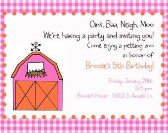 Petting Zoo Invitation - Digital File - Barn Party invitation -Farm Birthday Party