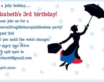 Mary Poppins Birthday Party Invitation - Digital File - Mary Poppins Invitation