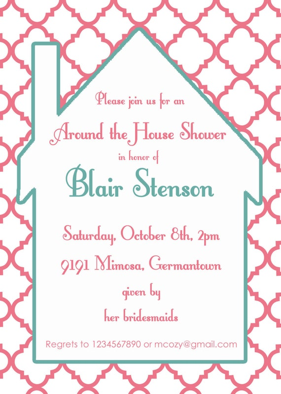 Around the house shower invitation- bridal shower invitation- Digial File, print yourself or PRINTED INVITATIONS