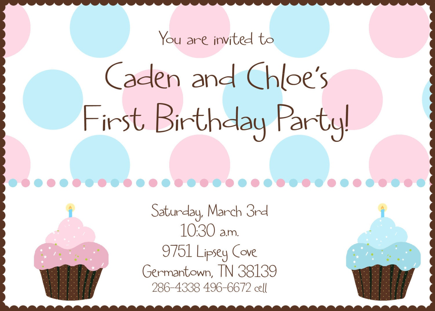 Twin First Birthday Cupcake Birthday Party Invitation