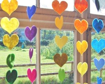 Hanging Rainbow Hearts - A Colorful Felt Decorative Garland