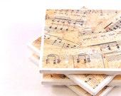 Tile Coasters - Vintage Sheet Music - Set of 4 Ceramic Tile Coasters