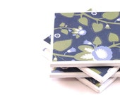 Tile Coasters - Blue and Green Flowers - Set of 4 Ceramic Tile Coasters