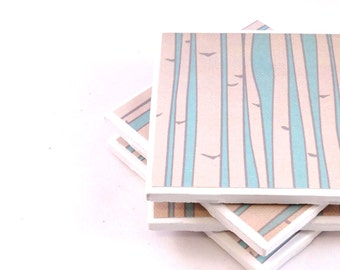 Tile Coasters - In the Forest (Beige and Light Blue) - Set of 4 Coasters