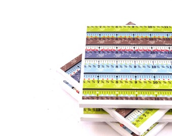 Tile Coasters - Measuring Tape - Set of 4 Sewing Coasters