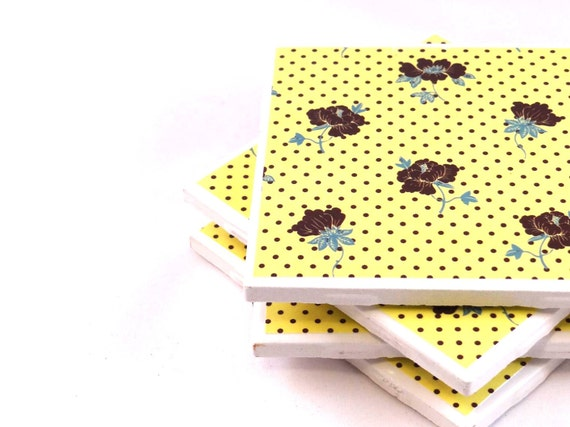 SALE - Tile Coasters - Yellow and Brown Polka Dot Floral - Set of 4 Coasters