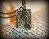 Brass Book Locket with Glasses