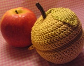 Teacher's Pet knit and crochet fruit protector pouch - dusty yellow apple