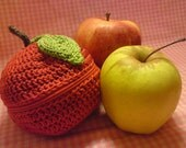 RESERVED for MeiHulaGirl - Teacher's Pet knit and crochet fruit protector pouch - devil red apple