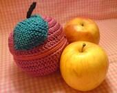 Teacher's Pet knit and crochet fruit protector pouch - hot pink apple