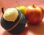 SPECIAL EDITION Teacher's Pet knit crochet fruit pouch - DENIM