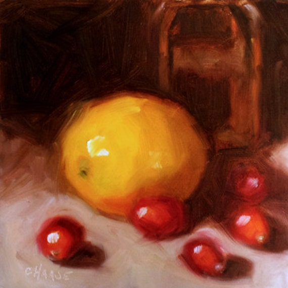 Reserved for Jill - Lemon and Cranberries 6 x 6 Original Daily Oil Painting